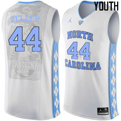 Youth North Carolina Tar Heels #44 Tyler Zeller College Basketball Jerseys Sale-White