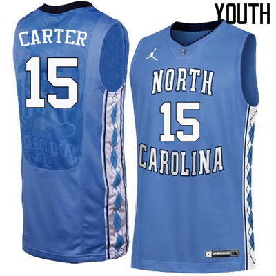 Youth North Carolina Tar Heels #15 Vince Carter College Basketball Jerseys Sale-Blue