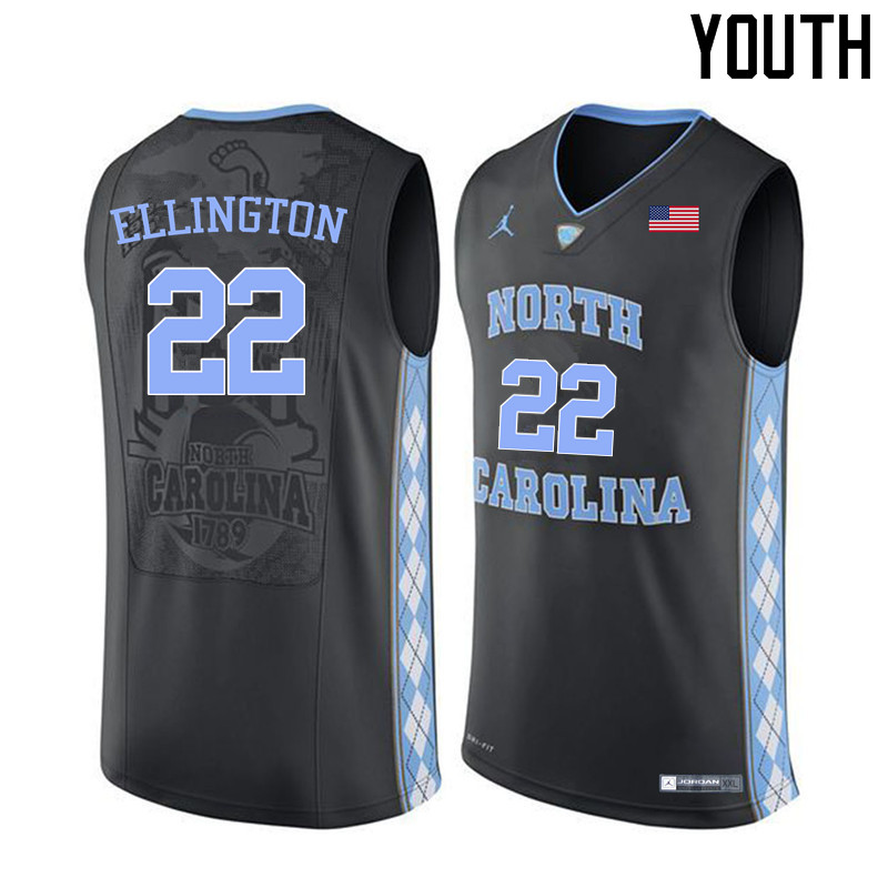 Youth North Carolina Tar Heels #22 Wayne Ellington College Basketball Jerseys Sale-Black